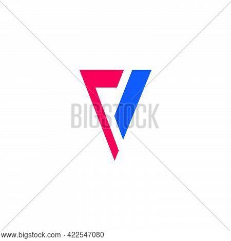 Letter V Arrows Geometric Simple Flat Logo Vector