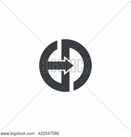 Vector Of Abstract Letter Ed Motion Geometric Arrow Logo