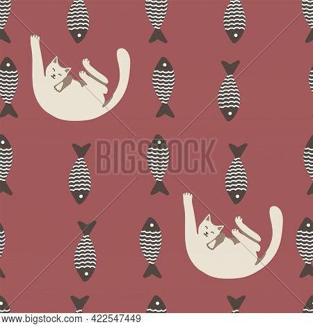 Seamless Pattern With Cute Cat And Striped Fish. Playing Cat. Vector Hand Drawn Illustration. Lazy C