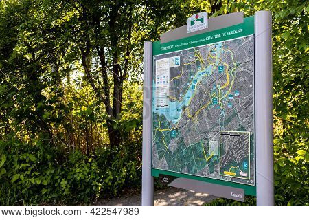 Ottawa, Ontario, Canada - May 31, 2021: An Information Board Standing Along The Greenbelt Western Pa