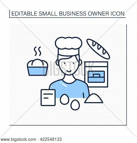 Baking Line Icon. Man Bakes Bread, Cakes, Buns. Individual Entrepreneur. Small Business Owner Concep