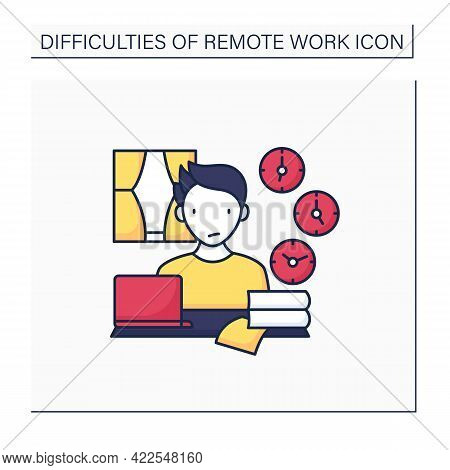 Remote Work Color Icon. Time Zone Differences. Sync Problems. Confusion At Different Times. Career D