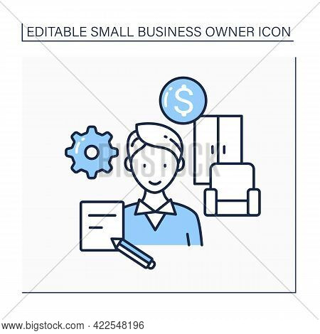 Custom Furniture Supplier Line Icon. Made And Sold Owners Furniture. Small Business Owner Concept. I