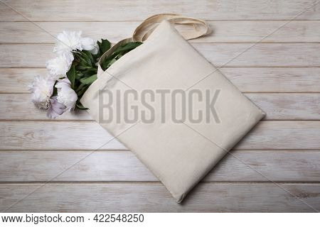 Rustic Tote Bag Mockup With White Pink Peony