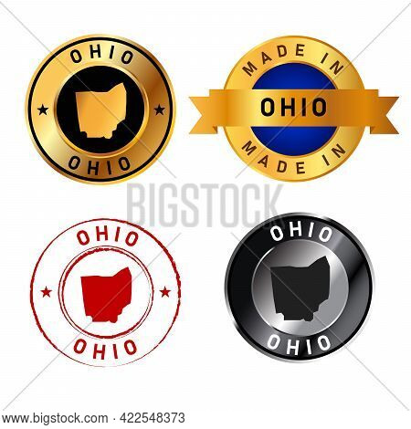 Ohio Badges Gold Stamp Rubber Band Circle With Map Shape Of Country States America