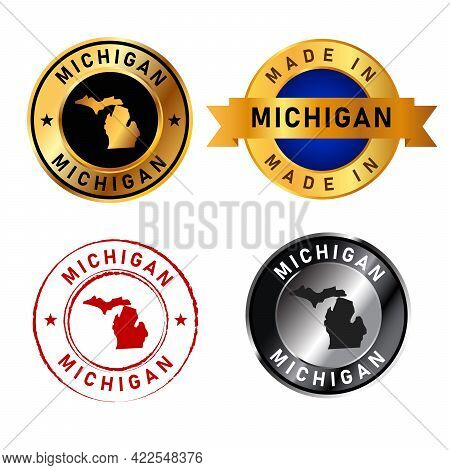 Michigan Badges Gold Stamp Rubber Band Circle With Map Shape Of Country States America