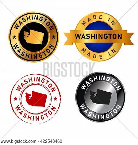 Washington Badges Gold Stamp Rubber Band Circle With Map Shape Of Country States America
