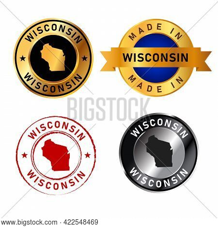 Wisconsin Badges Gold Stamp Rubber Band Circle With Map Shape Of Country States America