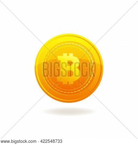 Golden Bitcoin. Crypto Currency Blockchain Coin. Bitcoin Symbol Isolated On White Background.
