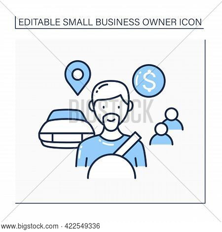 Driver Line Icon. Professional Driver. Transports Passengers To Location. Taxi Driving.small Busines