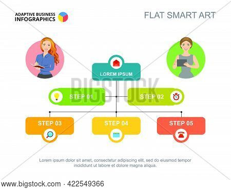 Five Steps Flowchart Template For Presentation. Vector Illustration. Abstract Elements Of Diagram, G