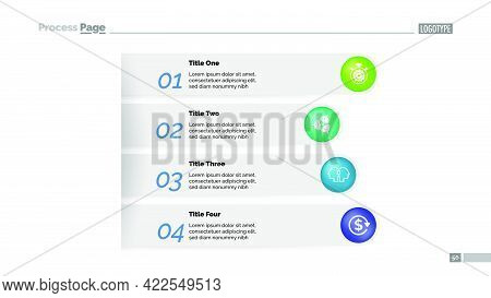Four Steps Business Approach Process Chart Template. Business Data Visualization. Strategy, Model, I