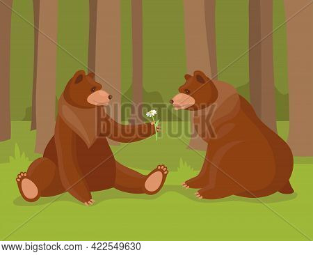 Cartoon Brown Bear Giving Flower To His Love. Illustration Of Bears, Wild Nature Forest Predator Ani