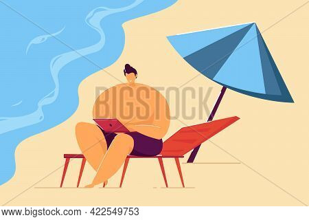 Smiling Man Working Remotely On Beach. Male Cartoon Character With Laptop On Seashore Flat Vector Il