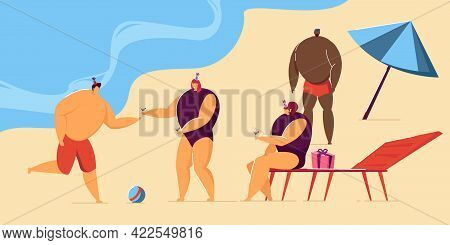 Man Celebrating Birthday With Friends On Seashore. Male And Female Characters In Party Hats Drinking