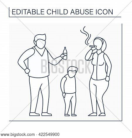 Parental Substance Use Line Icon. Alcohol And Drug Abuse Against Kid. Unable To Care. Bad Influence.