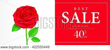 Best Sale Of Season, Forty Percent Off Banner Design With Rose On Red Background. Typed Text In Fram