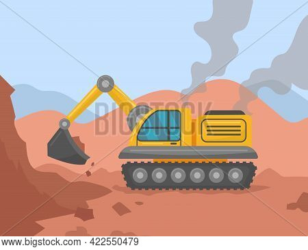 Excavator Digging Ground On Construction Site Illustration. Heavy Yellow Construction Machinery Doin