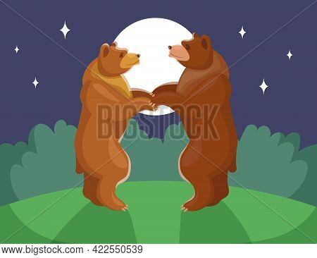 Two Bears Dancing In Moonlight. Brown Grizzlies Holding Hands, Looking At Each Other At Night. Fur B