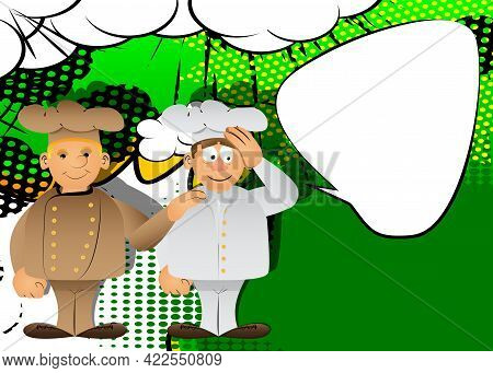 Fat Male Cartoon Chef In Uniform Comforting Another. Vector Illustration. Cook Consoling His Partner