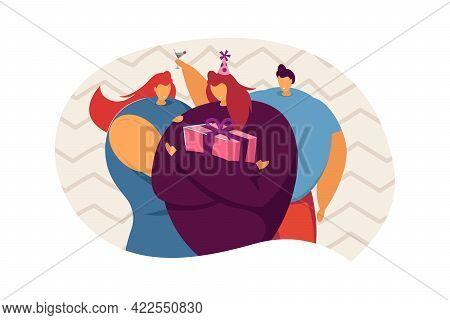 Girl Celebrating Birthday With Friends. Female Character In Party Hat Holding Present Flat Vector Il
