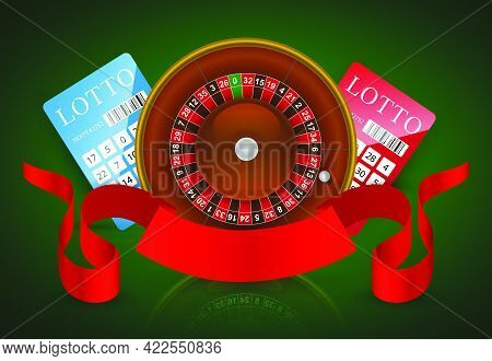 Casino Roulette, Lottery Tickets And Red Ribbon. Casino Business Advertising Design. For Posters, Ba