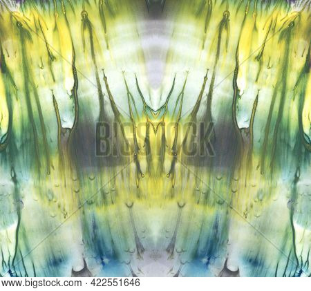 Bright Symmetric Background. Blue, Green And Yellow Paint. Abstract Watercolor Painting.