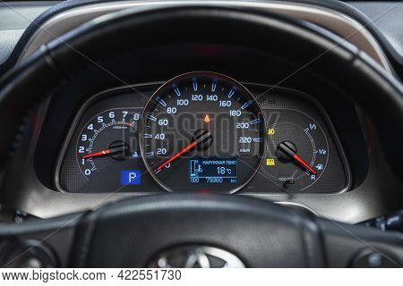 Novosibirsk, Russia - May 29, 2021: Toyota Rav-4, Close Up Instrument Automobile Panel With Odometer