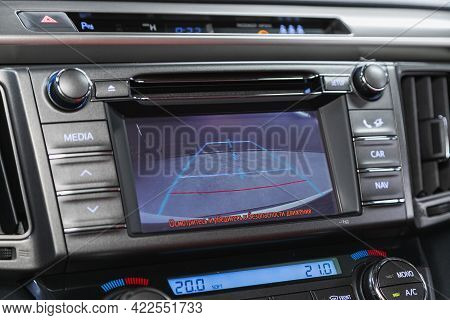 Novosibirsk, Russia - May 29, 2021: Toyota Rav-4, Reverse Camera With Monitor,buttons - Details And