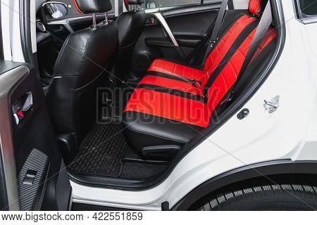 Novosibirsk, Russia - May 29, 2021: Toyota Rav-4, Comfort Car Inside. Clean Car Interior: Black Back