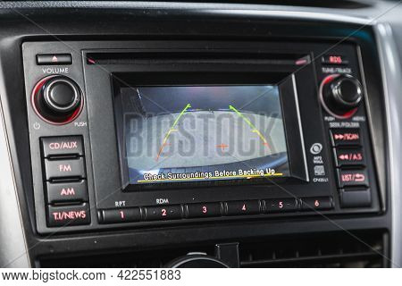 Novosibirsk, Russia - May 29, 2021: Subaru Forester, Reverse Camera With Monitor,buttons - Details A