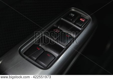 Novosibirsk, Russia - May 29, 2021: Subaru Forester, Car Door Interior Armrest With Window Control P