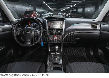 Novosibirsk, Russia - May 29, 2021: Subaru Forester, Close-up Of The Dashboard, Player, Steering Whe