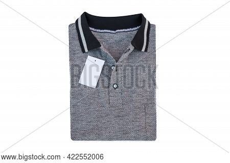 Dark Grey Button Closure Shirt Folded On White Background With Copy Space To Text