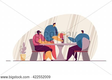 Waiter Serving Couple At Restaurant. Male Character Bringing Bottle Of Alcohol To Man And Woman Flat