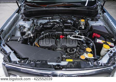 Novosibirsk, Russia - May 29, 2021: Subaru Forester, Powerful Engine Closeup. Clean Motor Block.