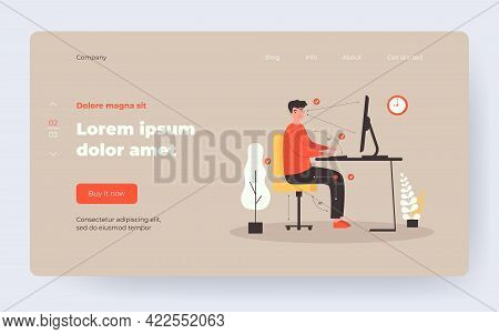Man Sitting At Desk In Correct Position Flat Vector Illustration. Cartoon Guy Working In Right Postu