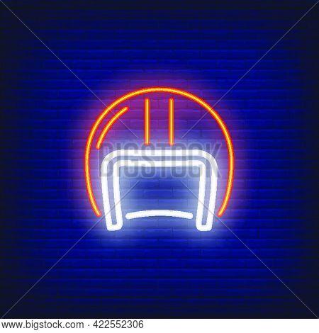 Biker Helmet On Brick Background. Neon Style Illustration. Biker, Protective Sportswear, Hardhat. Bi