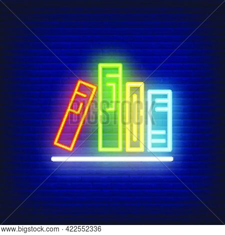 Books On Shelf Neon Sign. Various Colorful In Row On Shelf. Night Bright Advertisement. Vector Illus