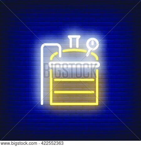 Brewing Machine On Brick Background. Neon Style Illustration. Brewery Manufactory, Home Brew, Beer S