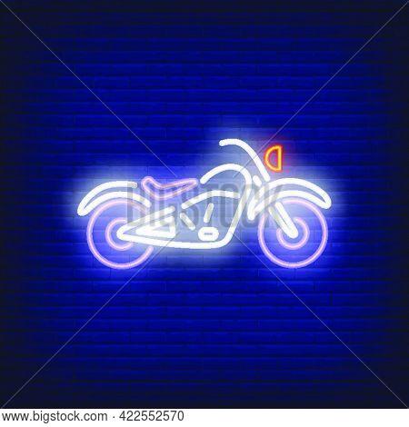 Custom Motorcycle On Brick Background. Neon Style Illustration. Bikers Club, Motorcycle Repair Shop,
