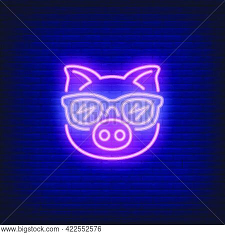 Cute Cartoon Pink Pig In Sunglasses. Neon Sign Element. Night Bright Advertisement. Vector Illustrat