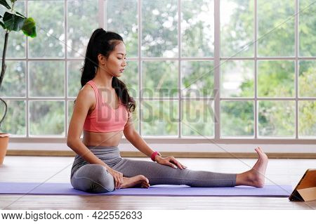 Exercise At Home, Asian Girl Body Stretch For Workout Fitness, Healthy Asia Woman Exercising In Home
