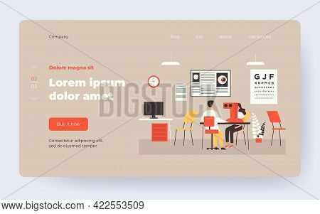 Experienced Ophthalmologist Checking Patient Vision Flat Vector Illustration. Cartoon Oculist Making