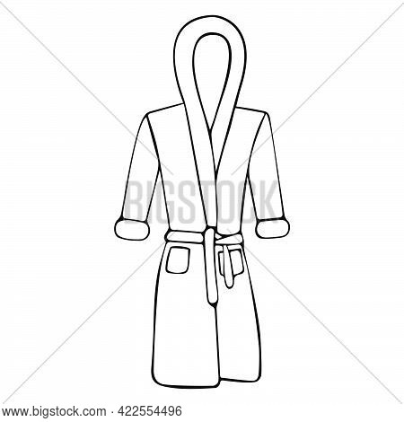 Home Bathrobe Hand Drawn Vector For Postcards, Greeting Cards