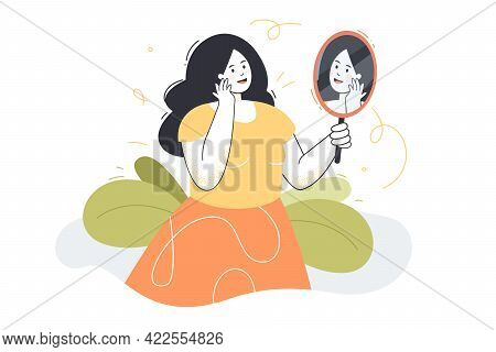 Woman Admiring Her Reflection. Female Character Looking At Herself In Mirror Happily. Beautiful Girl