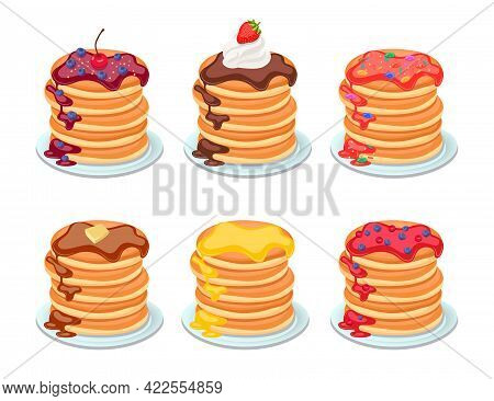 Set Of Tasty Pancakes With Different Toppings. Pancakes On White Plate. Baking With Syrup, Berries,