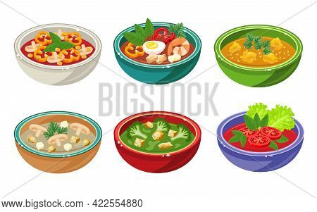 Set Of Soups In Bowls. Gazpacho, Curry, Broccoli, Mushroom Cream Soup Isolated On White Background.