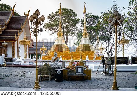 Chiangrai Province, Thailand - 25 Mar 2021, Wat Phra That Doi Tung, A Famous Temple And Buddhism Pla