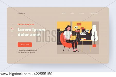Woman Learning Web Design. Girl With Laptop, Stack Of Books Flat Vector Illustration. Programming, E